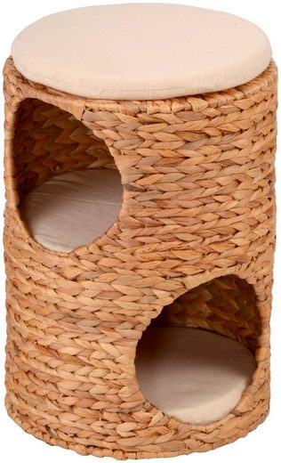 SILVIO design Tierbett »Korbturm Wasserhyazinthe«, BxLxH: 32x32x47 cm, natur