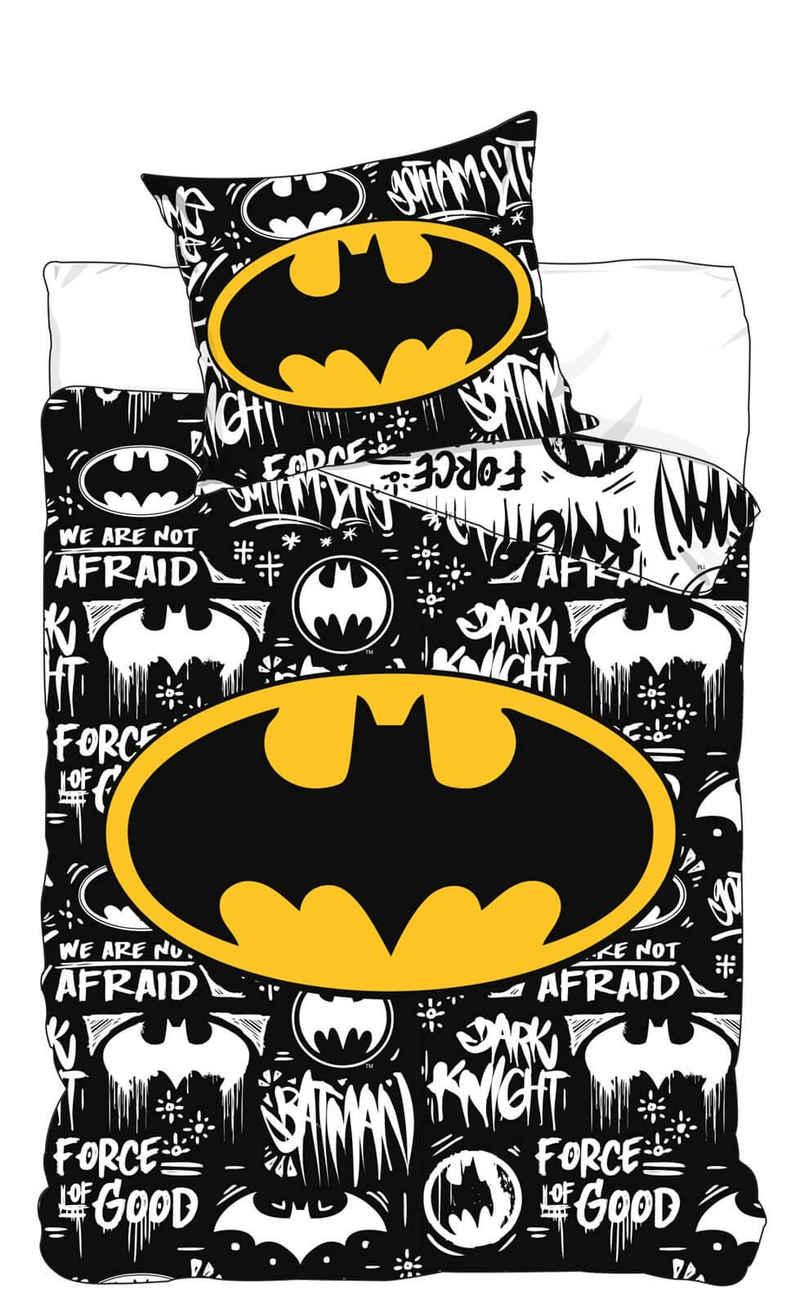 Kinderbettwäsche »Batman - Wende-Bettwäsche-Set, 135x200 & 80x80 cm«, Batman, 100% Baumwolle