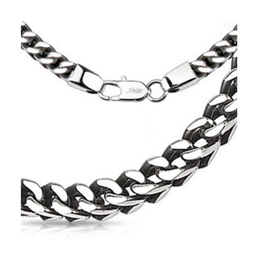 BUNGSA Königskette »Königskette gewebt massiv Silber aus Edelstahl« (inkl. Schmuckbeutel aus Organza), Halskette Necklace Damen Herren Mädchen