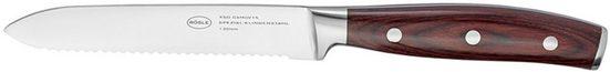 RÖSLE Allzweckmesser »Rockwood«, scharfes Küchenmesser mit Wellenschliff zum universellen Einsatz, Obst und Gemüse, Klingenspezialstahl, rotbraunes Pakkaholz