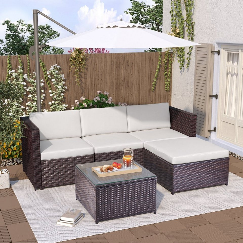 PHOEBE CAT Loungeset, 5 tlg. Poly Rattan Garten Lounge Set Sitzgruppe Gartenmöbel Sets mit Sitz ...