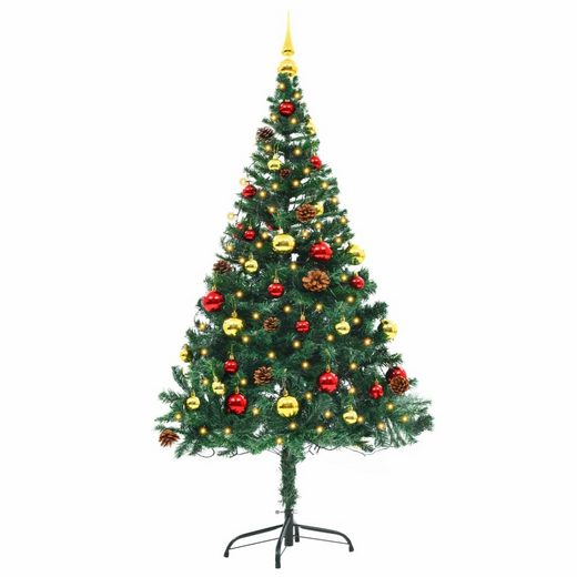 PHOEBE CAT Künstlicher Weihnachtsbaum, 150 cm Tannenbaum Christbaum mit Geschmückt Kugeln und LED Beleuchtung, Metallständer, Grün