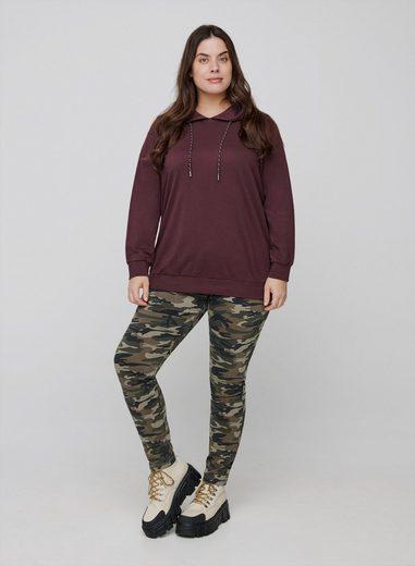 Zizzi Slim-fit-Jeans Große Größen Damen Hochtaillierte Slim Fit Amy Jeans mit Print