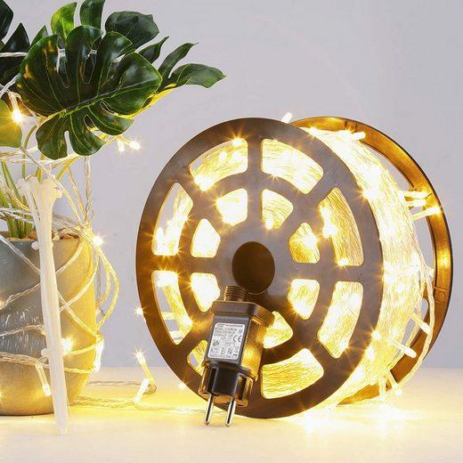 GlobaLink LED-Lichterkette, GlobaLink 100m 500Leds LED Lichterkette Außen Weihnachtsbeleuchtung IP44 mit Stecker 8 Modi für innen und außen Hochzeit Party Garten Deko - Warmweiß