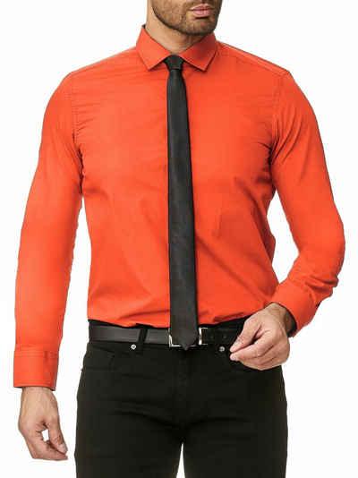 Reslad Langarmhemd »Reslad Herren-Hemd Slim-Fit + Krawatte SET Bügelle« Freizeithemd Businesshemd Hemd + Krawatte SET