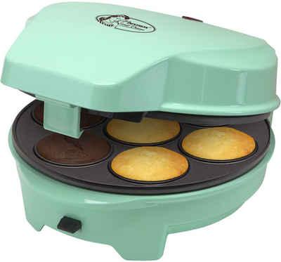 bestron Muffin-Maker Sweet Dreams, 700 W, im Retro Design, mit 3 auswechselbaren Backplatten, Donut-, Cupcake- und Cakepop Maker, antihaftbeschichtet, Farbe: Mint