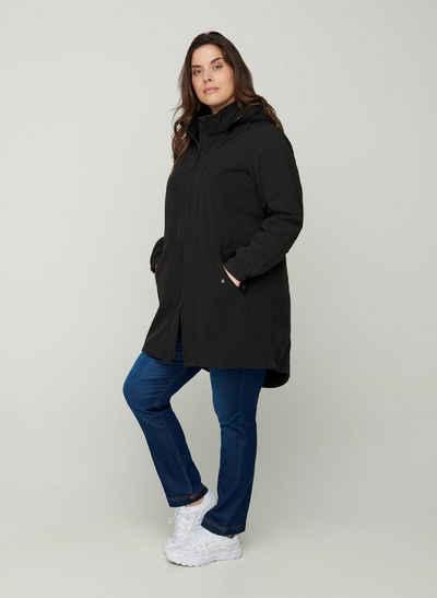Zizzi Softshelljacke Große Größen Damen Lange Softshell Jacke mit mit Kapuze und Reißverschluss