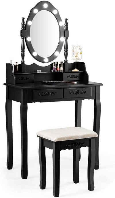 COSTWAY Schminktisch »Frisiertisch, Kosmetiktisch«, mit Hocker, mit 4 Schubladen, 360° drehbarem Spiegel und 10 dimmbaren LED-Birnen