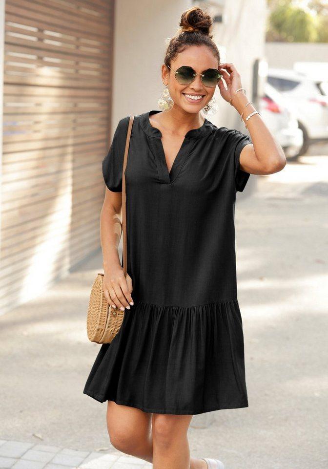 s.oliver beachwear -  Blusenkleid mit Volant am Rock