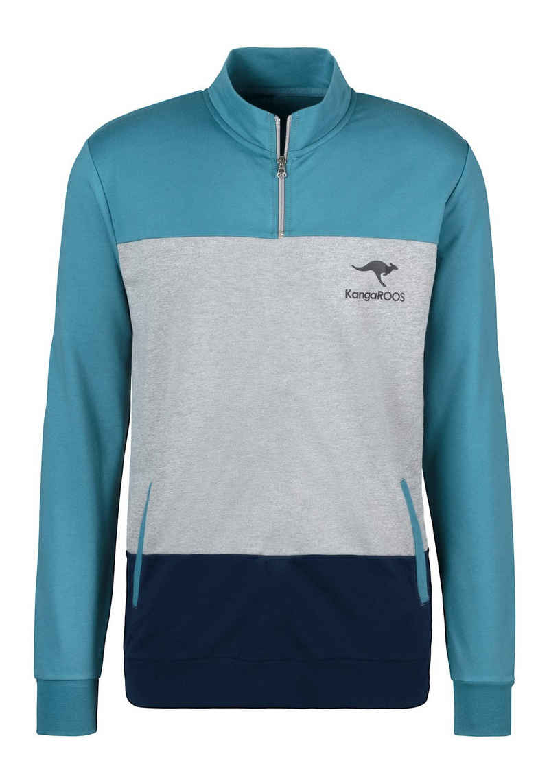 KangaROOS Sweatshirt mit Stehkragen mit kurzen Reißverschluss