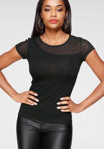 Melrose Rundhalsshirt mit asymmetrischen Einsatz aus Spitze