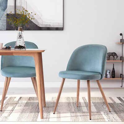 Merax Esszimmerstuhl »Sicilia« (2 Stück), 2er Set Küchenstuhl Polsterstuhl Samt Stuhl mit Rücklehne