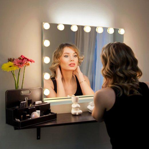 COSTWAY Schminkspiegel »Kosmetikspiegel«, mit 15 LED Beleuchtung, 3 Lichtfarben, inkl. 10-Fach-Vergrößerungsglas, Bluetooth, 58x15x48cm