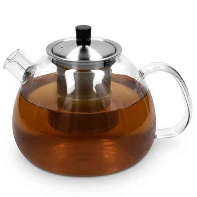 Navaris Teekanne, mit Sieb und Deckel - 1500ml Tee Kanne mit Teesieb für 5-7 Tassen - Teebereiter Glaskanne mit Siebeinsatz - aus Borosilikatglas