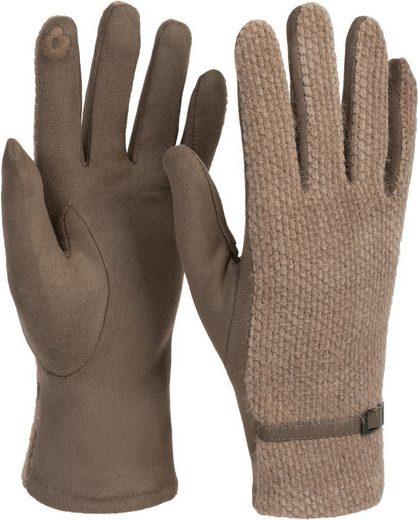 styleBREAKER Strickhandschuhe Touchscreen Handschuhe mit weichem Waben Muster