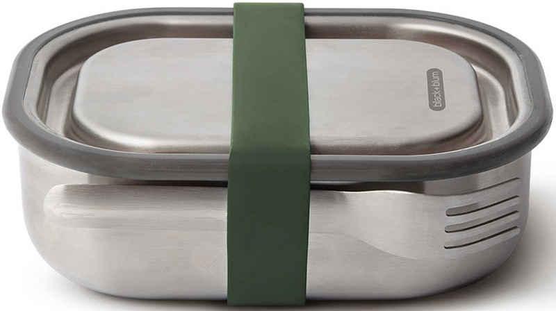 black+blum Lunchbox, Edelstahl, (1-tlg), (3-in1), auslaufsicher, mit Silikon-Ventil, Gabel und Gurt, 600 ml