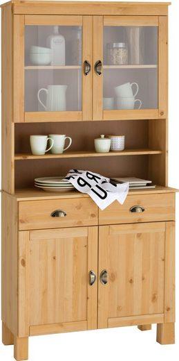 Home affaire Küchenbuffet »Oslo« 85 cm breit, aus massiver Kiefer, mit 2 Glastüren, Metallgriffe, Landhaus-Optik