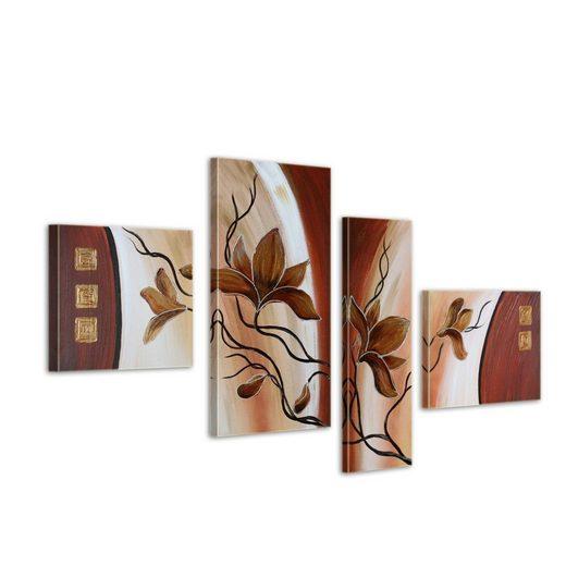 Bilderdepot24 Wandbild, Magnolie M6 - Leinwandbild 4 teilig 120x70cm Handgemalt