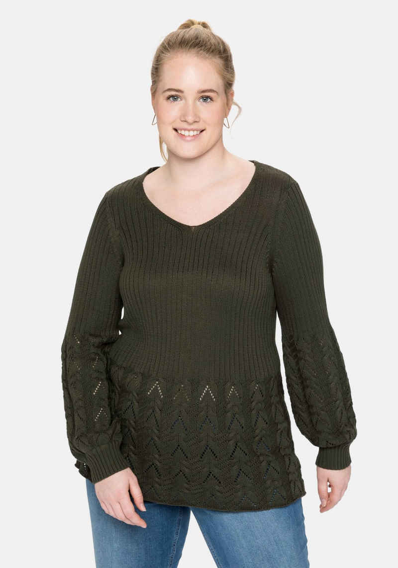 Sheego V-Ausschnitt-Pullover im Strickmix, in weicher Qualität