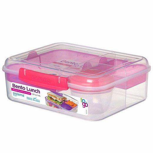 sistema Aufbewahrungsbox »Bento Lunchbox To Go, unterteilt, transparent-pink«, Kunststoff Bisphenol A und Weichmacher frei