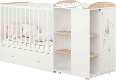 POLINI kids Babybett »French 800 Amis, weiß-eiche«, mit Bettschubkasten und Wickelstation; umbaubar zu Juniorbett und Kommode