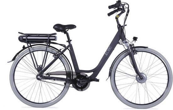 LLobe E-Bike »Metropolitan JOYschwarz 10 Ah«, 3 Gang, Nabenschaltung, Frontmotor 250 W