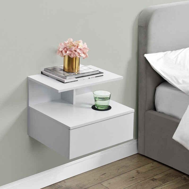 en.casa Ablageregal, Wandregal - Nachtschrank mit Schublade und Ablage - 40x35x31cm - Weiß
