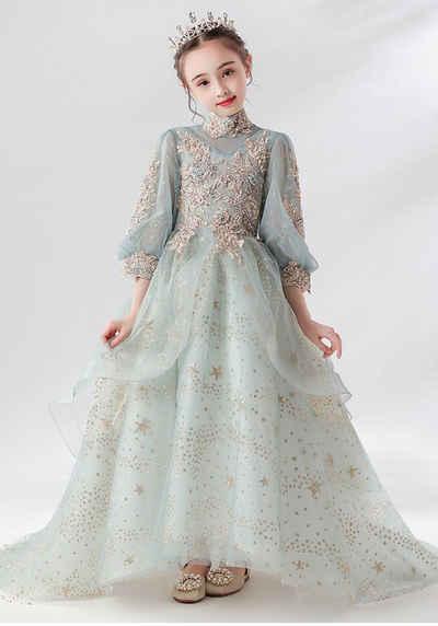 TOPMELON Spitzenkleid »Kinderabendkleider mit Tüllschleppe« Bequem zu tragen, Wunderschön bestickte Zierleiste
