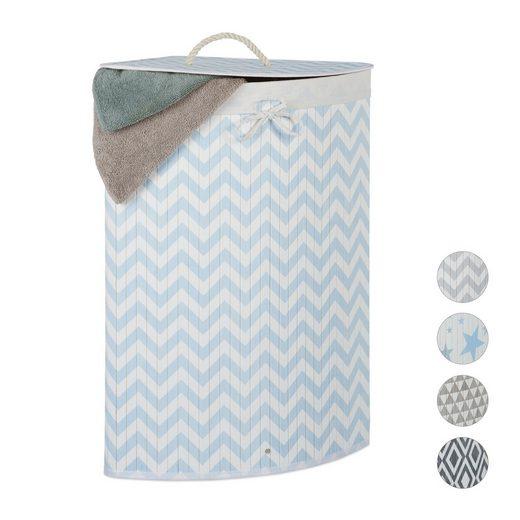 relaxdays Wäschekorb »Eckwäschekorb Bambus mit Muster«