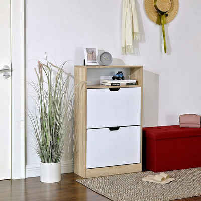 VASAGLE Schuhschrank »LBC04NW« Schuhschrank, Schuhregal 60 x 24 x 102 cm, weiß-natur