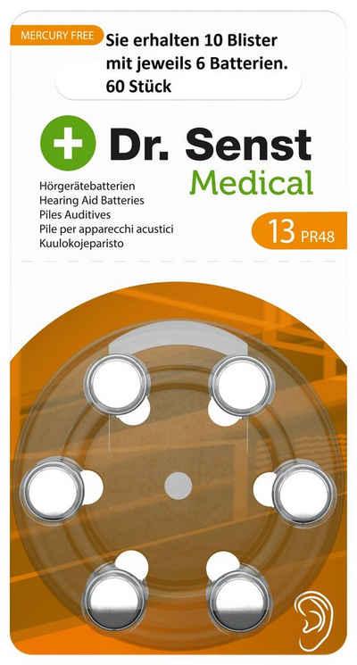 Dr. Senst »10 x 6 Stück Dr. Senst Medical Zinc Air Hearing Hörgerätebatterien Aid ZA13, BP6 - Sie erhalten 10 Blister mit jeweils 6 Batterien - 60 Stück« Batterie, (60 St)