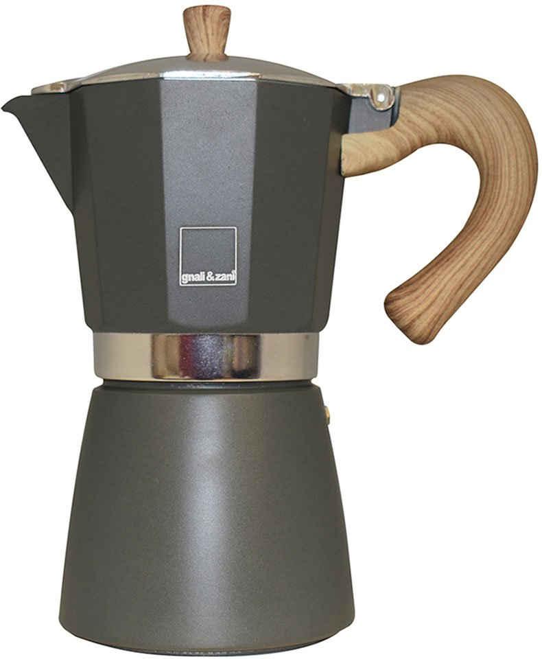 gnali & zani Espressokocher Venezia, Aluminium mit Softtouch-Griff in Holzoptik, Induktion
