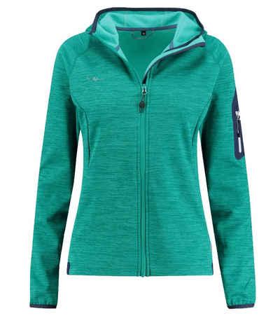 Kaikkialla Fleecejacke »KAIKKIALLA Tanja Powerstretch Fleece-Jacke kuschelige Damen Sweatjacke mit Reißverschluss-Tasche an Arm Sweater Grün«