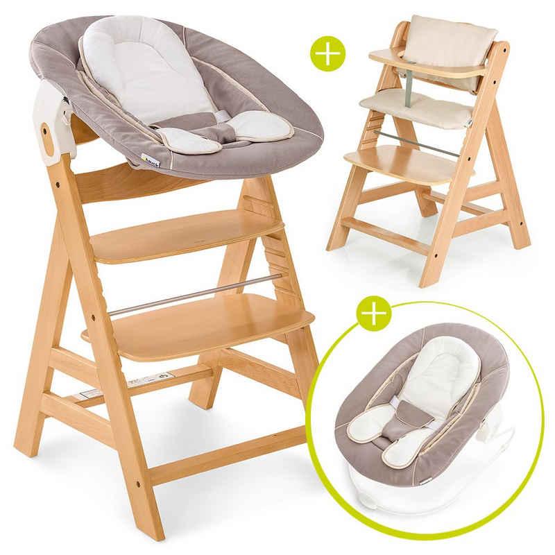 Hauck Hochstuhl »Alpha Plus Natur - Newborn Set« (Set, 4 Stück), Holz Hochstuhl ab Geburt + Neugeboreneneinsatz & Wippe Stretch Beige + Sitzpolster