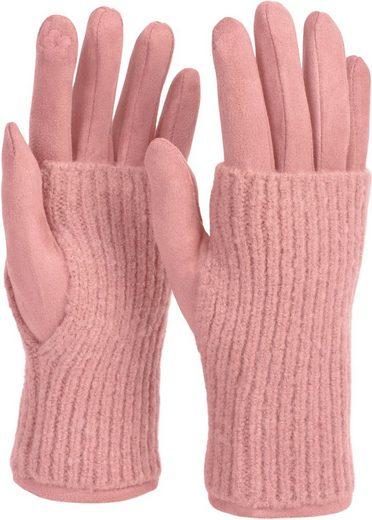 styleBREAKER Strickhandschuhe Touchscreen Stoff Handschuhe mit abnehmbarer Strick Manschette
