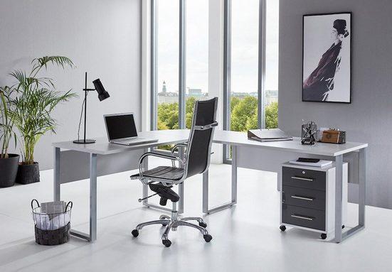 moebel-dich-auf Eckschreibtisch »OFFICE EDITION« (in lichtgrau / anthrazit Hochglanz, inkl. Rollcontainer), wechselseitig montierbar