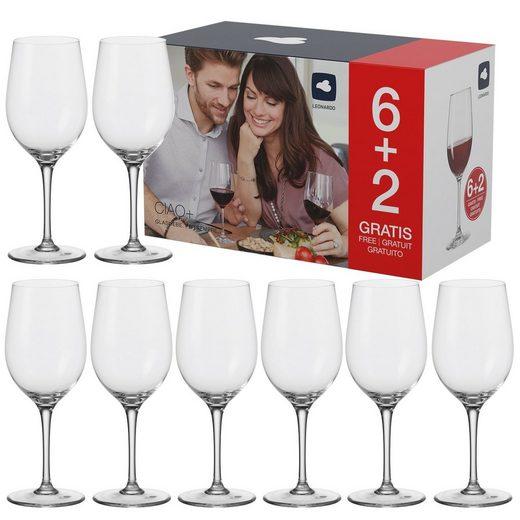 LEONARDO Rotweinglas »Rotweingläser 430ml, 6+2 Ciao« (8-tlg)