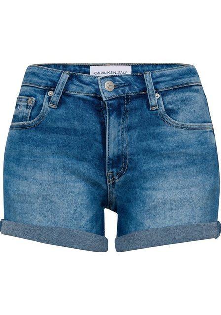 Hosen - Calvin Klein Jeans Shorts »MID RISE SHORT ROLLED« mit Bewegungsfalten und Used Stellen ›  - Onlineshop OTTO