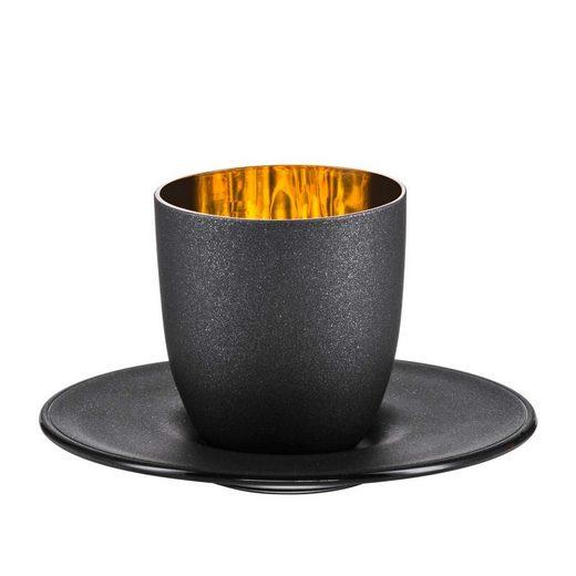 Eisch Espressotasse »COSMO Gold/Schwarz Espressotasse mit Untertasse« (2-tlg)