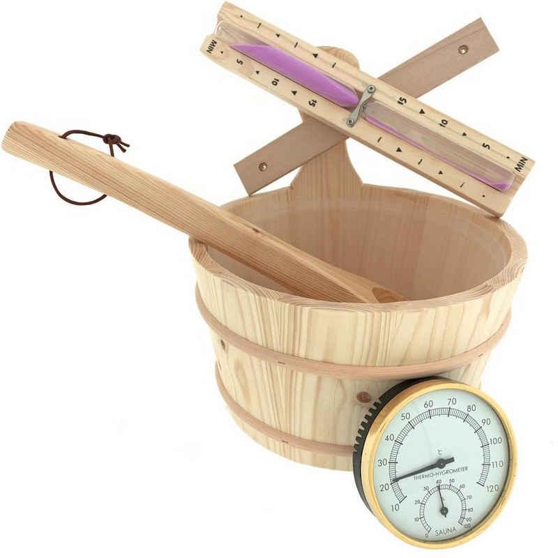 Dewello Sauna-Aufgussset »Sauna Zubehör Set« (Komplett-Set, 4-tlg., Fassungsvermögen ca. 4 Liter) Inkl. hitzebeständigen Kunststoffeinsatz (Durchmesser ca. 22cm)