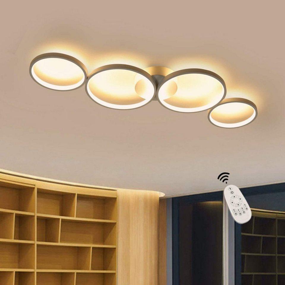 ZMH LED Deckenleuchte »Deckenlampe Modern 4 Flammig in Ringoptik Dimmbar 55W Weiß Innen aus ...