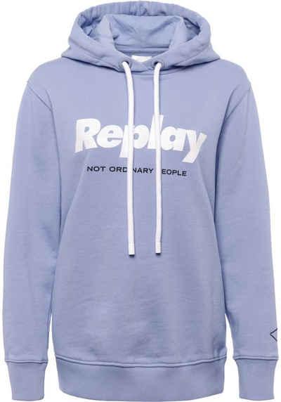 Replay Kapuzensweatshirt mit glitzerndem Logo-Print