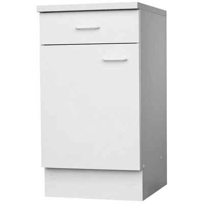 Lüllmann Unterschrank »Küchenunterschrank - 1 Schublade - 1 Tür - 1 Boden - 850 x 500 x 600 mm - weiß« (1-St) -1 Tür mit Kunststoffbügelgriff - 1 Einlegeboden - 1 Schublade