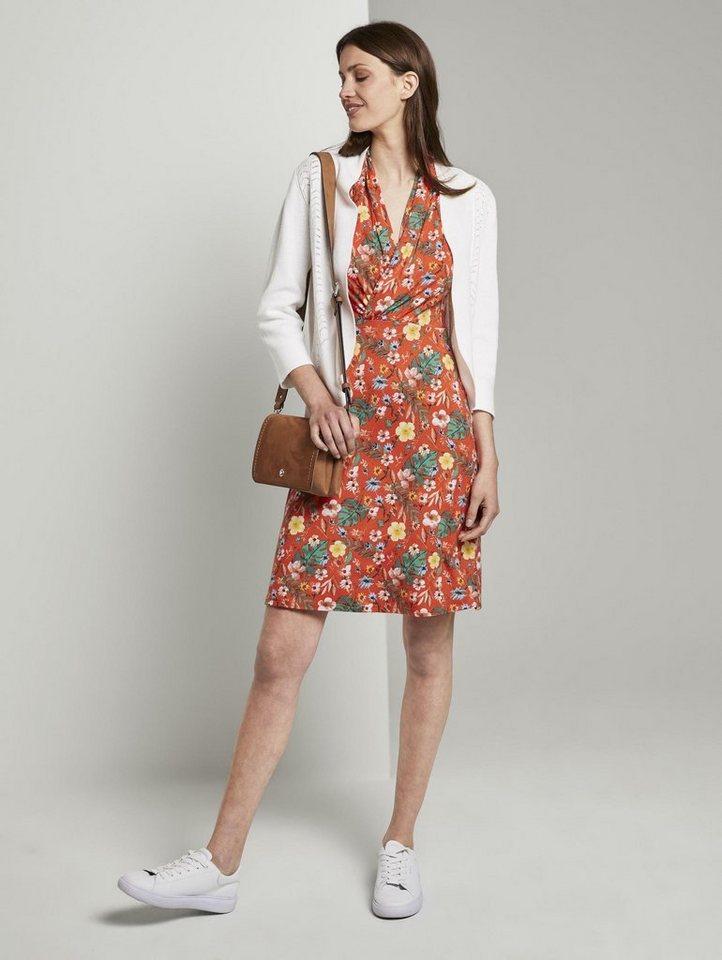 tom tailor -  Blusenkleid »Sommerliches Kleid mit drapiertem Wickel-Ausschnitt«