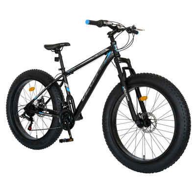 Velors Mountainbike »26 Zoll Fatbike Mountainbike MTB Hardtail«, 21 Gang Shimano Tourney Schaltwerk, Kettenschaltung, (Mechanisches Scheibenbremssystem, Stahlrahmen), Fette Reifen Fahrrad mit ergonomisches Sattelmodell