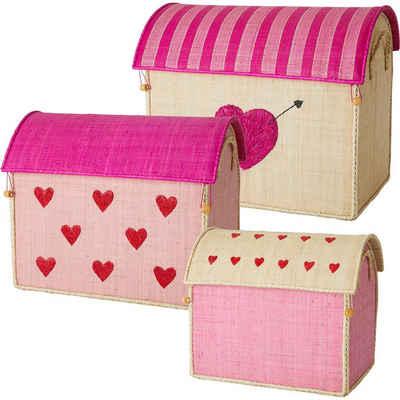 rice Aufbewahrungsbox »Aufbewahrungsbox Raffia-Bast, Herzen, 3er Set«