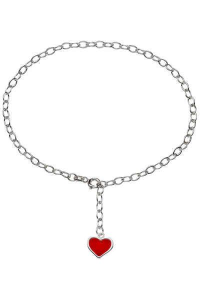 Firetti Fußkette mit Anhänger »romantisches Herz, Glanzoptik, massiv«, mit Lack