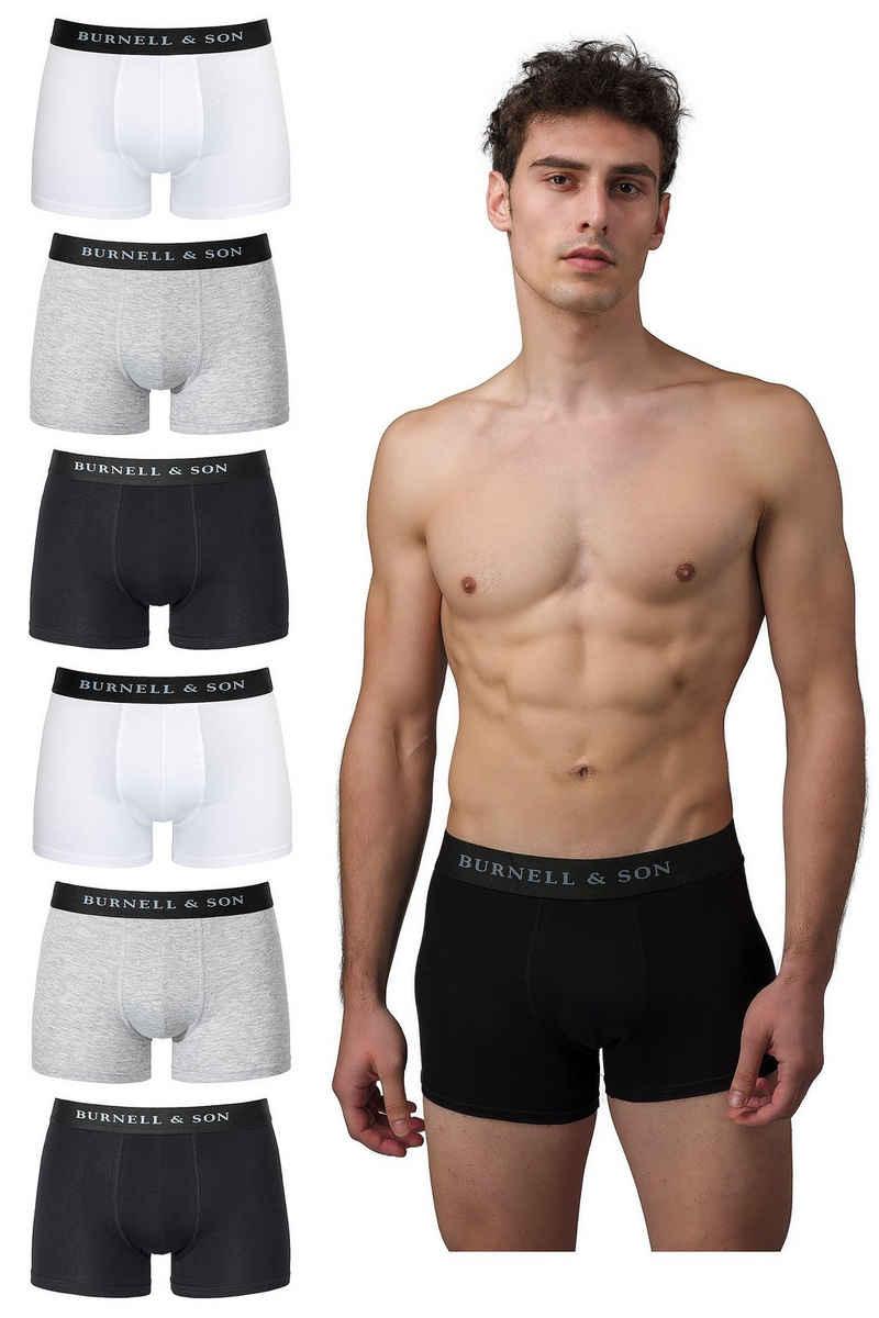 Burnell & Son Boxershorts »Unterhosen aus Baumwolle für Herren Männer« (6 Stück) mit Komfortbund