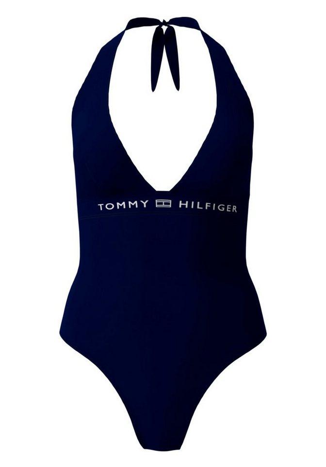 Bademode - Tommy Hilfiger Badeanzug, mit tiefem V Ausschnitt › blau  - Onlineshop OTTO