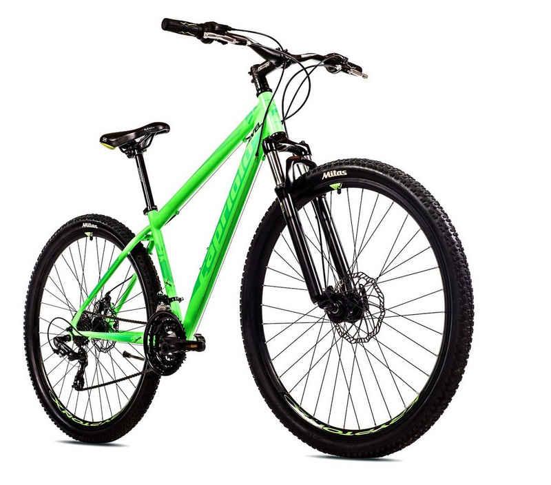 breluxx Mountainbike »29 Zoll Mountainbike Hardtail FS Disk Level 9.X Sport neon-grün, FS + Scheibenbremsen D2«, 21 Gang Shimano Tourney Schaltwerk, Kettenschaltung